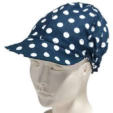 Welding Cap Pattern Adorable Kromer Caps Blue C48B USA Made Polka Dot Kromer Welding Cap