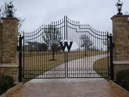 Stone Entry Gate Designs Iron Monogrammed With Stone Main Gate Design Entry Gates