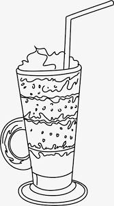 iced coffee clipart black and white. Beautiful White Ice Cream Line Drawing Black And White Hand Painted PNG Image And Clipart For Iced Coffee White F
