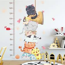 Kindergarten Height Chart Cartoon Cat Animals Measure Wall Stickers For Kids Rooms Kindergarten Height Chart Ruler Decals Nursery Home Decor