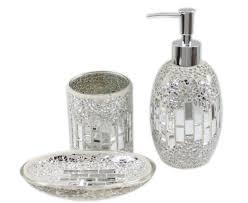 Modern Kitchen Accessories Uk 3 Piece Modern Silver Chrome Sparkle Mosaic Glass Tile Bathroom