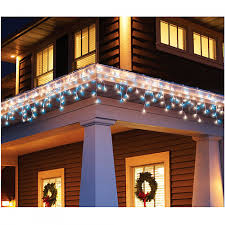 Blue White Outdoor Christmas Lights Holiday Time 300 Count Icicle Christmas Light Set Blue
