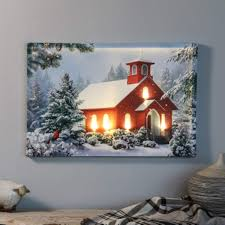 Winter Pictures With Led Lights Amazon Com Winter Wonderland And Church Print With Led