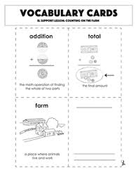 Vocabulary Cards Counting On The Farm Worksheet