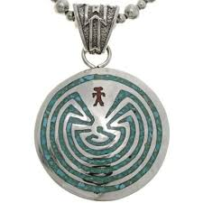 man in the maze sterling pendant with