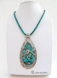 sterling silver turquoise necklace big bold statement necklace