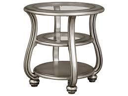 signature design by ashley coralayne round end table in silver