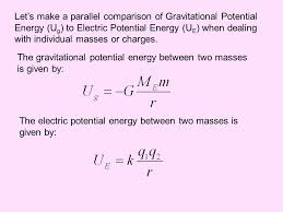 let s make a parallel comparison of gravitational potential energy ug to electric potential energy