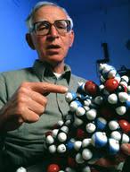 Science Source - Sir Aaron Klug with model of zinc finger molecule