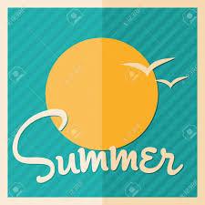 太陽と鳥とミニマリスト スタイル夏デザイン ポスターのイラスト素材