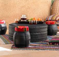 furniture made of recycled materials. Old Car Tires Used For Moroccan Poufs And Coffee Table Design Furniture Made Of Recycled Materials N