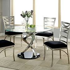 amazon dining table and chairs. roxo modern style stain plated 5-piece round dining table set amazon and chairs