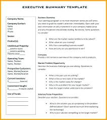 Executive Summary Outline Business Overview Template