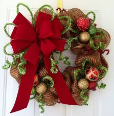 Divine Image Of Christmas Decoration With Christmas Wreath With Ribbon