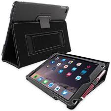 snugg apple ipad air 2 case leather smart cover case with kick stand black
