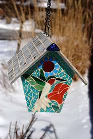 mosaic glass bird feeder elegant bird house stained glass mosaic hummingbird by natureunderglass