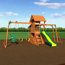 saratoga wooden playsets with yellow green slider and swings for kids playground ideas