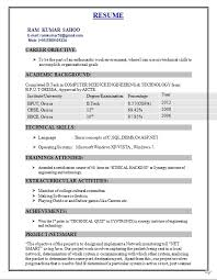 Sample Resumes For Freshers B Tech Resume Corner