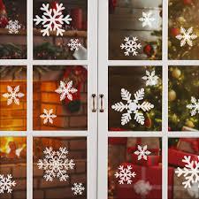 Solawill Fensterbilder Schneeflocken 93 Fensterdeko Schneeflocken Abnehmbare Fensterdeko Wiederverwendbar Statisch Haftende Pvc Aufkleber Für Winter