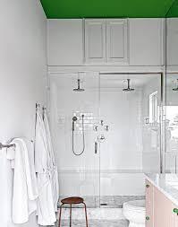 green accent a plain white bathroom