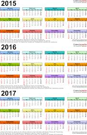 year calender 2015 2016 2017 calendar 4 three year printable pdf calendars