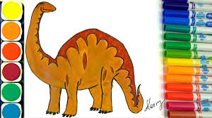 Small Picture How to Draw Dinosaurs Coloring pages Learning Colors for Kids