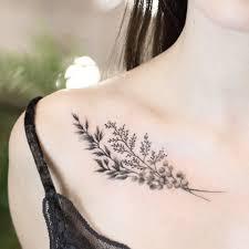 веточка женская тату на ключице фото татуировок