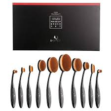 amazon makeup brush set uy professional 10 pieces oval makeup brushes with refined gift box soft toothbrush shaped design for foundation
