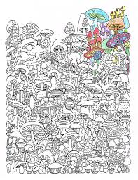Small Picture Adult Coloring Page Mushrooms Printable coloring page for