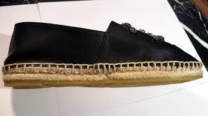chanel espadrilles black lambskin leather