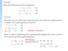 example solve the following system of equations 1 2 3