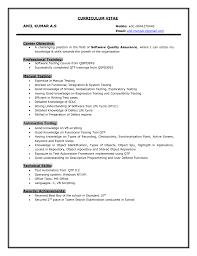 Software Testing Fresher Resume Sample Free Samples Manual Format