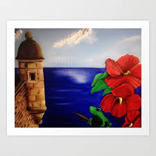 painting of the famous el moro at san juan puerto rico art print