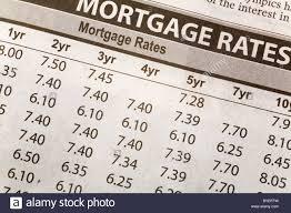 Newspaper Mortgage Rate Chart Stock Photo 34059757 Alamy