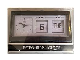 Retro Alarm Clock With Flip Date In Black And White Buy