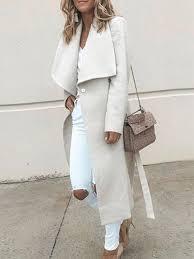 <b>Turn down Collar</b> Belt Plain Outerwear Woman Coats - Cicicloth