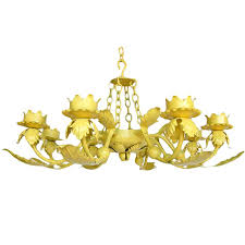 painted yellow hand wrought iron leaf chandelier for