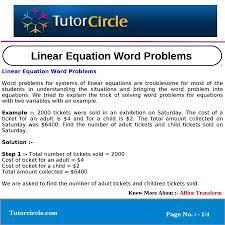 linear equation word problems p 1 4