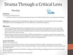 coming up monday th death of a sman finish viewing take  drama through a critical lens monday