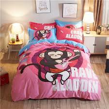 black white blue and hot pink animal monkey guitar monogrammed print themed punk rock and roll style twin full size bedding sets