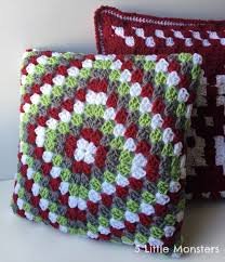 Classic Granny Square Pattern Impressive 48 Little Monsters Classic Granny Square Christmas Pillow
