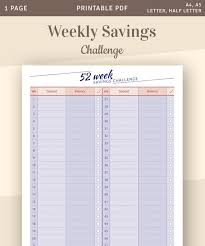 Savings Template Weekly Savings Budget Template 52 Week Saving Challenge Budget Organizer Instant Download Printable Pdf