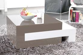 Extending Coffee Table Luna Glossy Taupe Grey Extending Coffee Table Miliboo