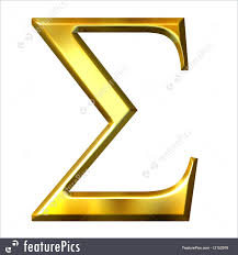 3d golden greek letter sigma isolated in white