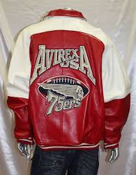 avirex red white 100 genuine leather jacket