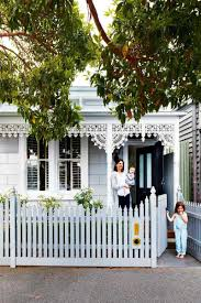 white fence ideas. Gallery Of Blue House With White Fence Collection Images Pale Bluegrey Victorian Heritage Cottage Ideas D
