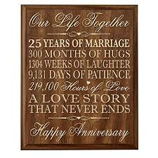 lifesong milestones 25th wedding anniversary wall plaque gifts for couple 25th anniversary gifts for her 25th