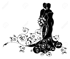 Wedding Couple Bride And Groom Husband And Wife In Silhouette