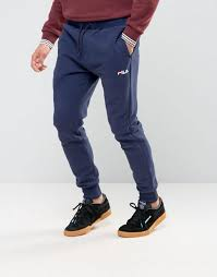 fila joggers. fila vintage skinny joggers with small script navy men,fila sneakers,official uk stockists o