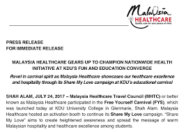 Malaysia Healthcare Gears Up To Champion Nationwide Health Amazing Message For My Healthcare And Love